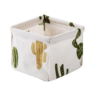 Cotton Fabric Storage Basket for Office and Cosmetic Products
